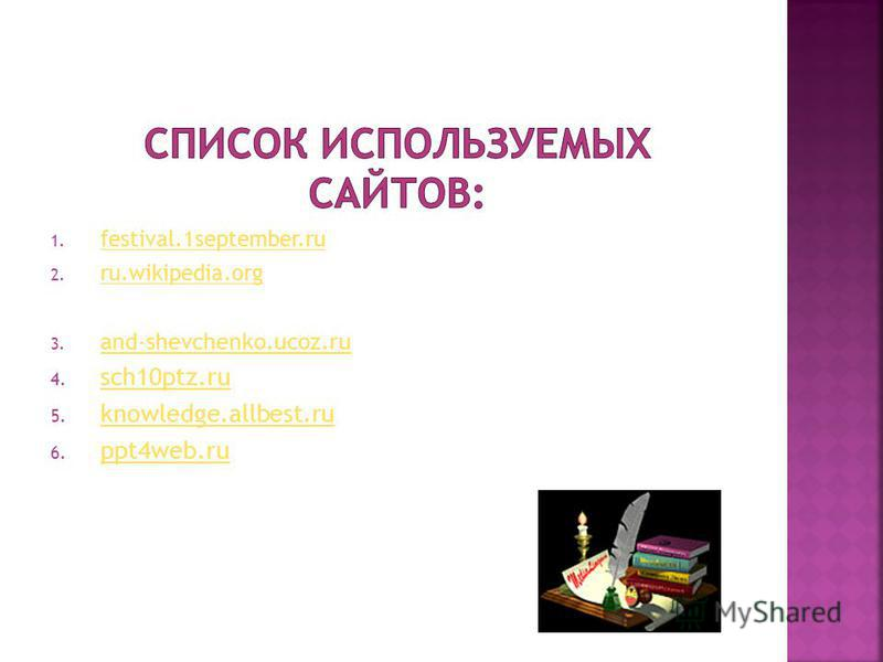 1. festival.1september.ru festival.1september.ru 2. ru.wikipedia.org ru.wikipedia.org 3. and-shevchenko.ucoz.ru and-shevchenko.ucoz.ru 4. sch10ptz.ru sch10ptz.ru 5. knowledge.allbest.ru knowledge.allbest.ru 6. ppt4web.ru ppt4web.ru