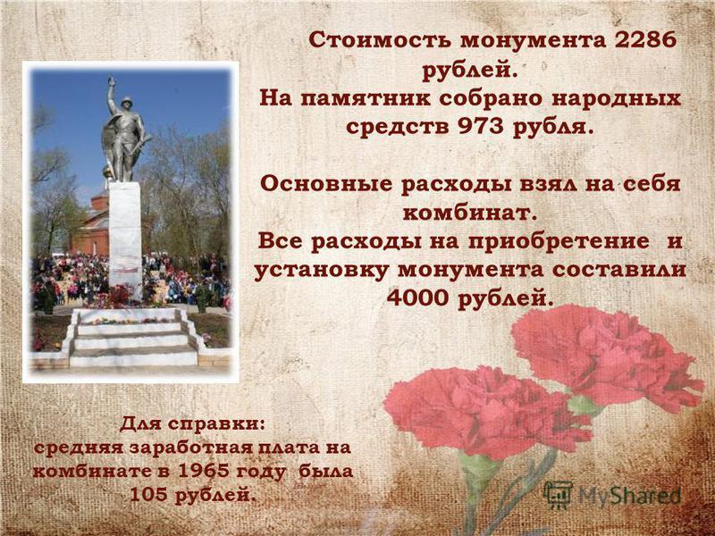 Стоимость монумента 2286 рублей. На памятник собрано народных средств 973 рубля. Основные расходы взял на себя комбинат. Все расходы на приобретение и установку монумента составили 4000 рублей. Для справки: средняя заработная плата на комбинате в 196