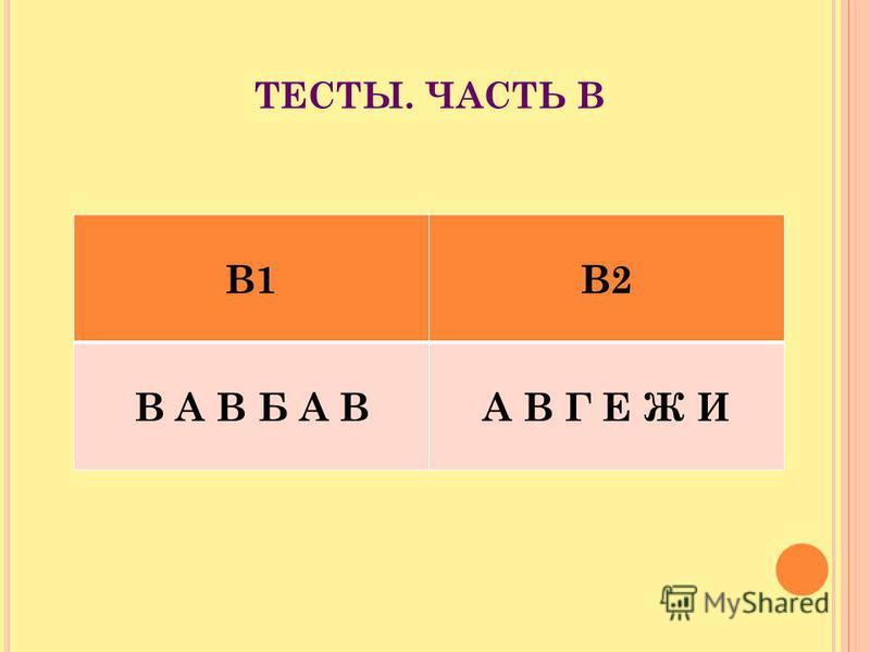 ТЕСТЫ. ЧАСТЬ В В1В2 В А В Б А ВА В Г Е Ж И