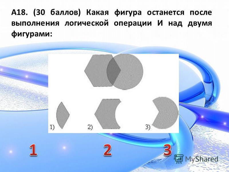 А18. (30 баллов) Какая фигура останется после выполнения логической операции И над двумя фигурами: