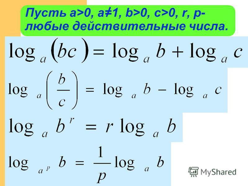 Пусть а>0, a=1, b>0, c>0, r, p- любые действительные числа.