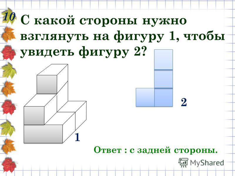 10 С какой стороны нужно взглянуть на фигуру 1, чтобы увидеть фигуру 2? Ответ : с задней стороны. 1 2