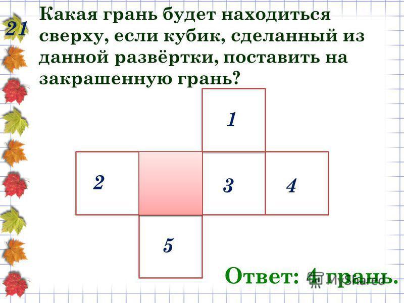 Какая грань будет находиться сверху, если кубик, сделанный из данной развёртки, поставить на закрашенную грань? 21 Ответ: 4 грань. 1 43 5 2