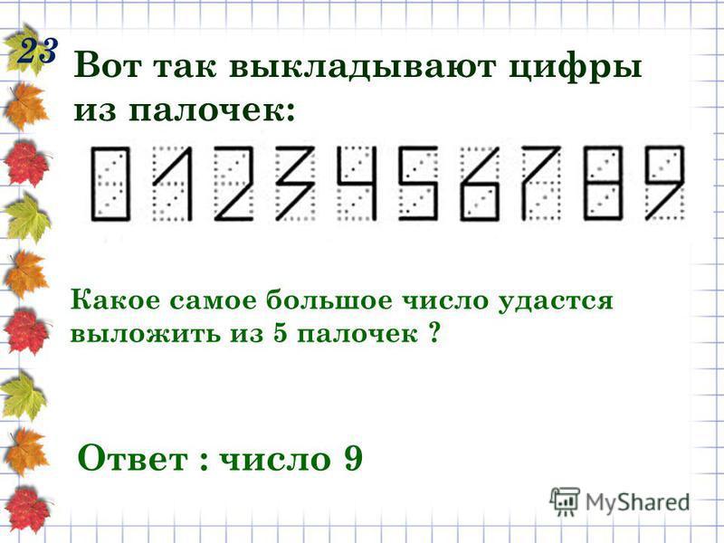 23 Вот так выкладывают цифры из палочек: Какое самое большое число удастся выложить из 5 палочек ? Ответ : число 9
