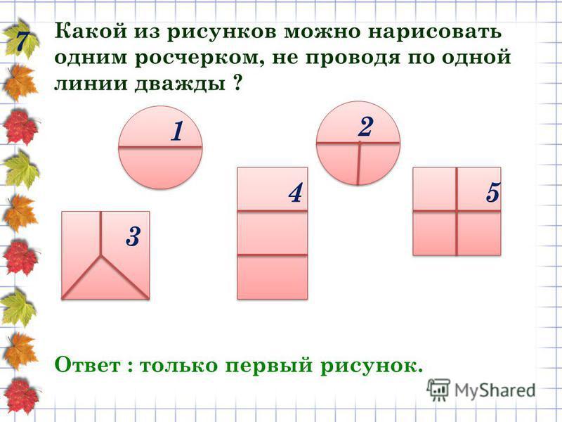 7 Какой из рисунков можно нарисовать одним росчерком, не проводя по одной линии дважды ? Ответ : только первый рисунок. 1 2 3 45