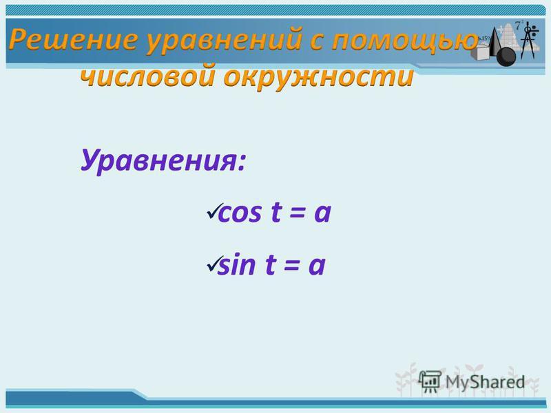 cos t = a sin t = a Уравнения: