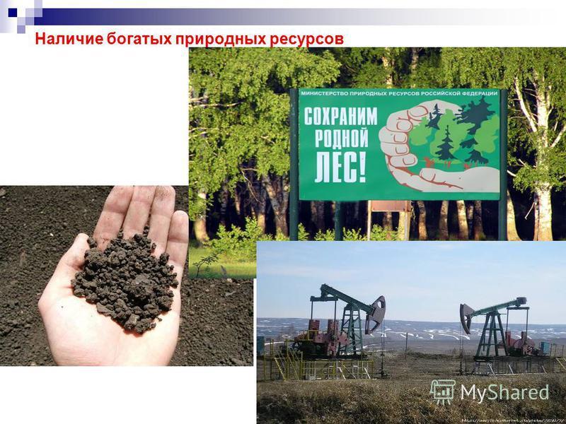 Наличие богатых природных ресурсов