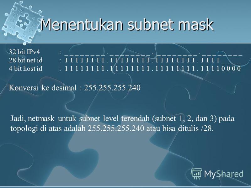 Menentukan subnet mask 32 bit IPv4: _ _ _ _ _ _ _ _. _ _ _ _ _ _ _ _. _ _ _ _ _ _ _ _. _ _ _ _ _ _ _ _ 28 bit net id: 1 1 1 1 1 1 1 1. 1 1 1 1 1 1 1 1. 1 1 1 1 1 1 1 1. 1 1 1 1 _ _ _ _ 4 bit host id: 1 1 1 1 1 1 1 1. 1 1 1 1 1 1 1 1. 1 1 1 1 1 1 1 1.