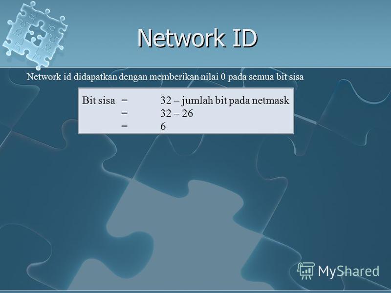 Network ID Network id didapatkan dengan memberikan nilai 0 pada semua bit sisa Bit sisa =32 – jumlah bit pada netmask =32 – 26 =6