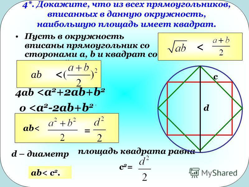4*. Докажите, что из всех прямоугольников, вписанных в данную окружность, наибольшую площадь имеет квадрат. Пусть в окружность вписаны прямоугольник со сторонами a, b и квадрат со стороной c << ab 4ab <a 2 +2ab+b 2 0 <a 2 -2ab+b 2 ab< = d – диаметр п