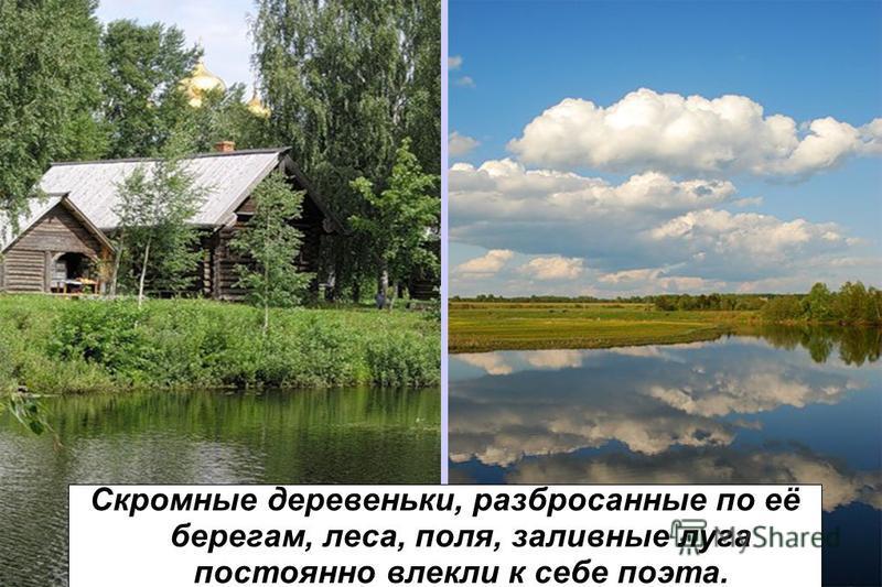 Скромные деревеньки, разбросанные по её берегам, леса, поля, заливные луга постоянно влекли к себе поэта.