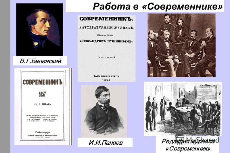 Работа в «Современнике» В.Г.Белинский И.И.Панаев Редакция журнала «Современник»