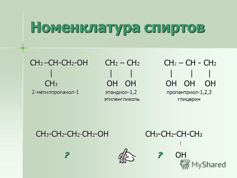 Номенклатура спиртов СН 3 –СН-СН 2 -ОН СН 2 – СН 2 СН 2 – СН - СН 2 | | | | | | | | | | | | СН 3 ОН ОН ОН ОН ОН СН 3 ОН ОН ОН ОН ОН 2-метилпропанол-1 этандиол-1,2 пропантриол-1,2,3 2-метилпропанол-1 этандиол-1,2 пропантриол-1,2,3 этиленгликоль глицер