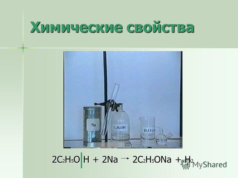 Химические свойства 2С 2 Н 5 О Н + 2Na 2С 2 Н 5 ОNa + H 2