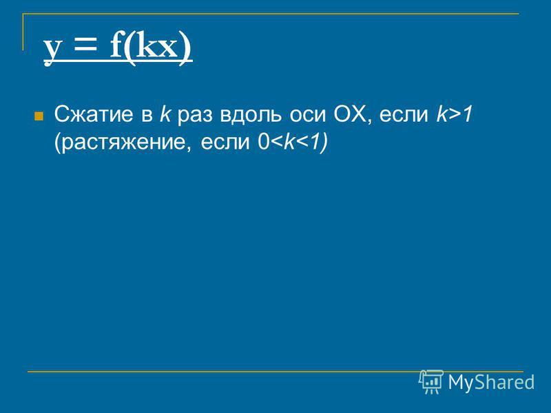 y = f(kx) Сжатие в k раз вдоль оси ОХ, если k>1 (растяжение, если 0<k<1)