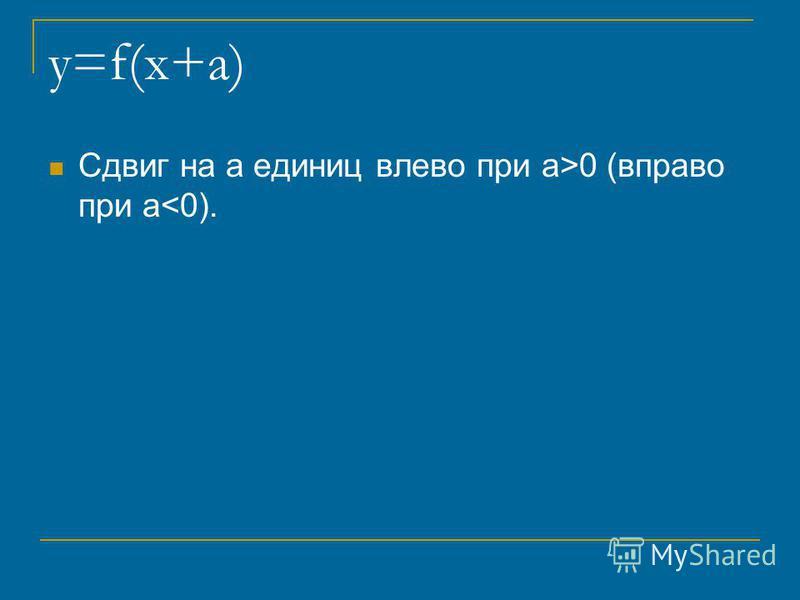y=f(x+a) Сдвиг на a единиц влево при a>0 (вправо при a<0).