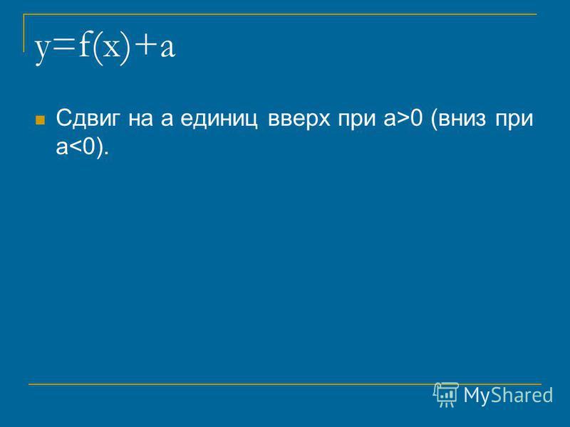 y=f(x)+a Сдвиг на a единиц вверх при a>0 (вниз при a<0).