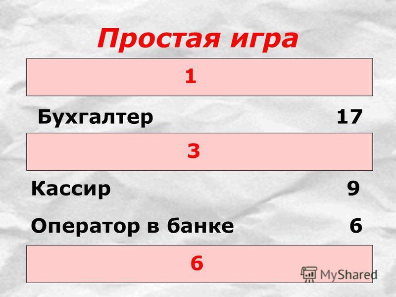 Простая игра 1 Бухгалтер 17 3 6 Кассир 9 Оператор в банке 6