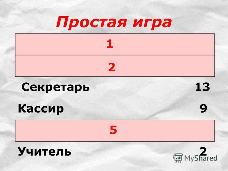 Простая игра 1 2 Секретарь 13 5 Кассир 9 Учитель 2
