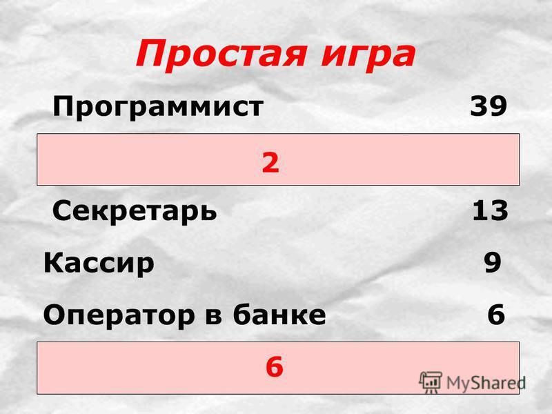Простая игра 2 6 Программист 39 Секретарь 13 Кассир 9 Оператор в банке 6