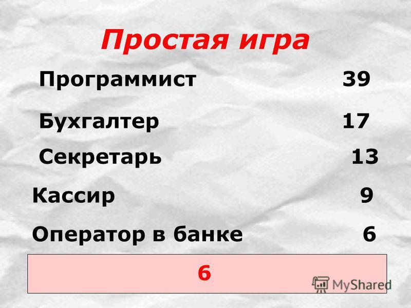 Простая игра 6 Программист 39 Бухгалтер 17 Секретарь 13 Кассир 9 Оператор в банке 6