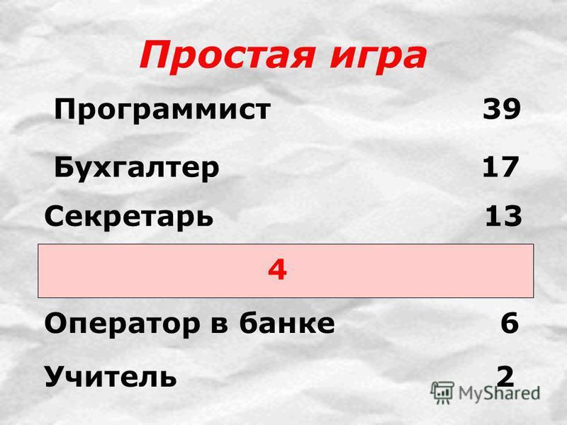 Простая игра 4 Программист 39 Бухгалтер 17 Секретарь 13 Оператор в банке 6 Учитель 2