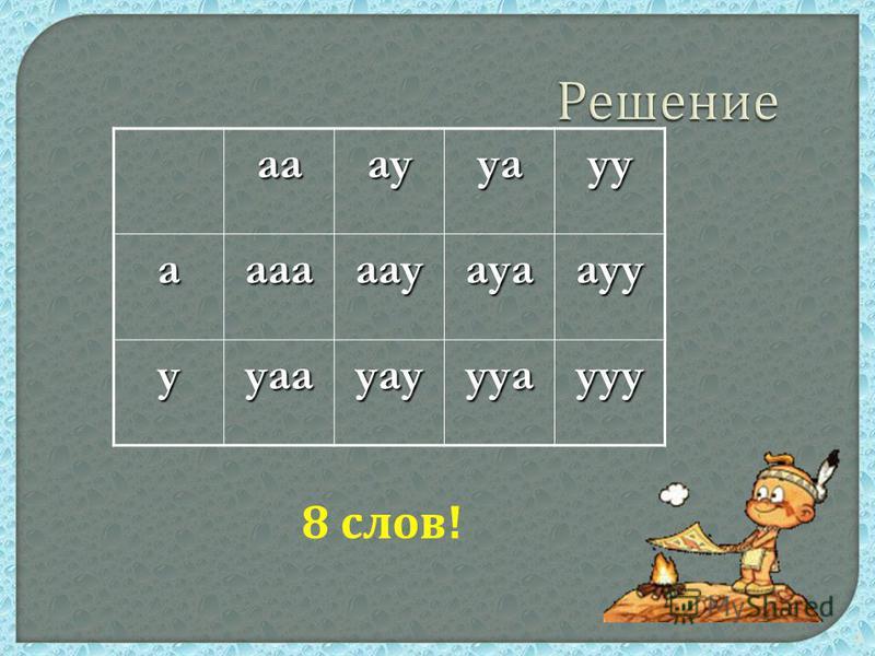 4 Решение аааууауу аааааауауаауу ууаауауууаууу 8 слов !