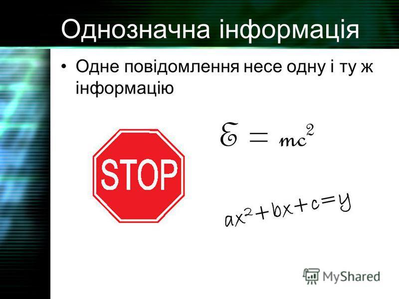 Однозначна інформація Одне повідомлення несе одну і ту ж інформацію E = mc 2 ax 2 +bx+c=y
