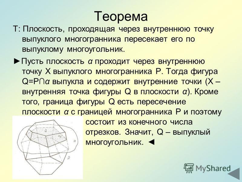 Теорема Т: Плоскость, проходящая через внутреннюю точку выпуклого многогранника пересекает его по выпуклому многоугольник. Пусть плоскость α проходит через внутреннюю точку Х выпуклого многогранника Р. Тогда фигура Q=Рα выпукла и содержит внутренние