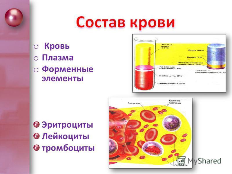 o Кровь o Плазма o Форменные элементы Эритроциты Лейкоциты тромбоциты