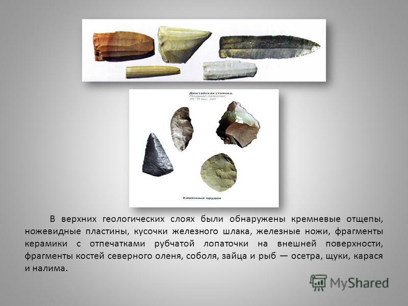 В верхних геологических слоях были обнаружены кремневые отщепы, ножевидные пластины, кусочки железного шлака, железные ножи, фрагменты керамики с отпечатками рубчатой лопаточки на внешней поверхности, фрагменты костей северного оленя, соболя, зайца и