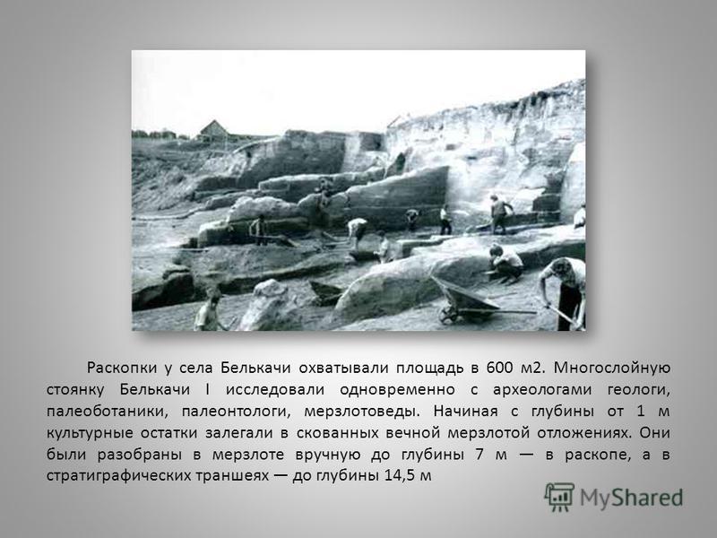Раскопки у села Белькачи охватывали площадь в 600 м 2. Многослойную стоянку Белькачи I исследовали одновременно с археологами геологи, палеоботаники, палеонтологи, мерзлотоведы. Начиная с глубины от 1 м культурные остатки залегали в скованных вечной