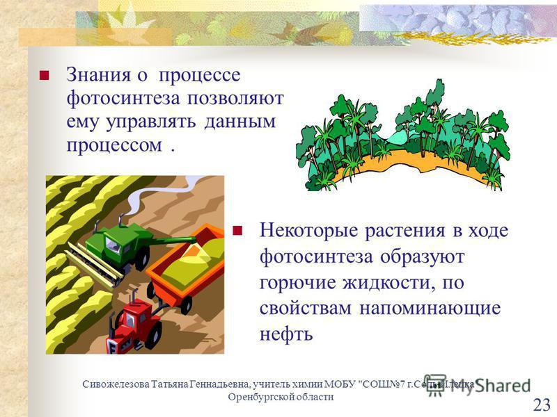 Некоторые растения в ходе фотосинтеза образуют горючие жидкости, по свойствам напоминающие нефть Знания о процессе фотосинтеза позволяют ему управлять данным процессом. 23 Сивожелезова Татьяна Геннадьевна, учитель химии МОБУ