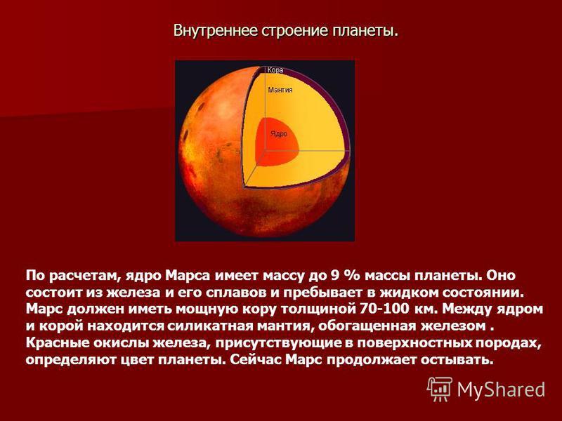 Внутреннее строение планеты. По расчетам, ядро Марса имеет массу до 9 % массы планеты. Оно состоит из железа и его сплавов и пребывает в жидком состоянии. Марс должен иметь мощную кору толщиной 70-100 км. Между ядром и корой находится силикатная мант