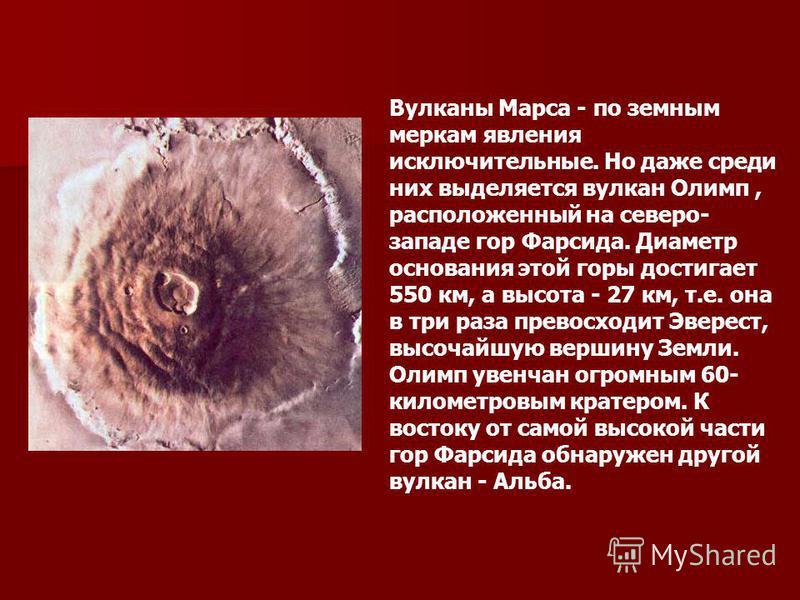 Вулканы Марса - по земным меркам явления исключительные. Но даже среди них выделяется вулкан Олимп, расположенный на северо- западе гор Фарсида. Диаметр основания этой горы достигает 550 км, а высота - 27 км, т.е. она в три раза превосходит Эверест,