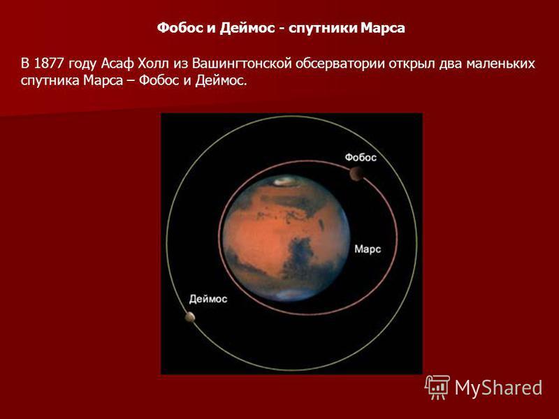 Фобос и Деймос - спутники Марса В 1877 году Асаф Холл из Вашингтонской обсерватории открыл два маленьких спутника Марса – Фобос и Деймос.
