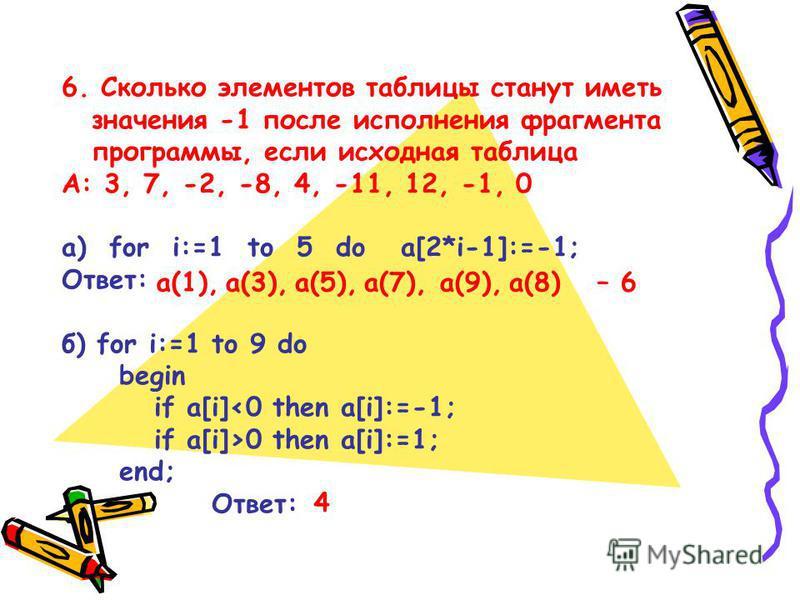 6. Сколько элементов таблицы станут иметь значения -1 после исполнения фрагмента программы, если исходная таблица А: 3, 7, -2, -8, 4, -11, 12, -1, 0 а) for i:=1 to 5 do a[2*i-1]:=-1; Ответ: б) for i:=1 to 9 do begin if a[i]<0 then a[i]:=-1; if a[i]>0