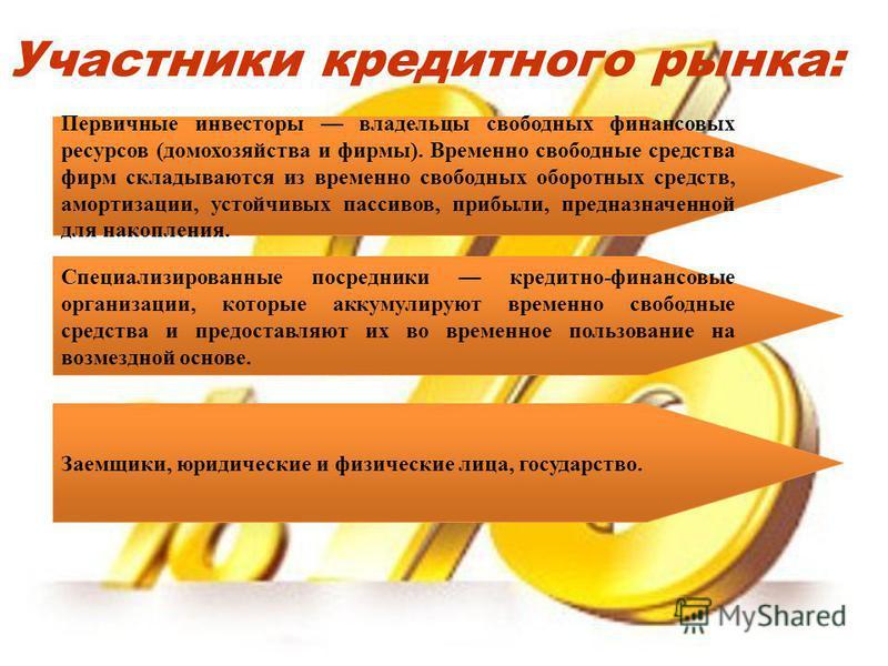 Участники кредитного рынка: Первичные инвесторы владельцы свободных финансовых ресурсов (домохозяйства и фирмы). Временно свободные средства фирм складываются из временно свободных оборотных средств, амортизации, устойчивых пассивов, прибыли, предназ