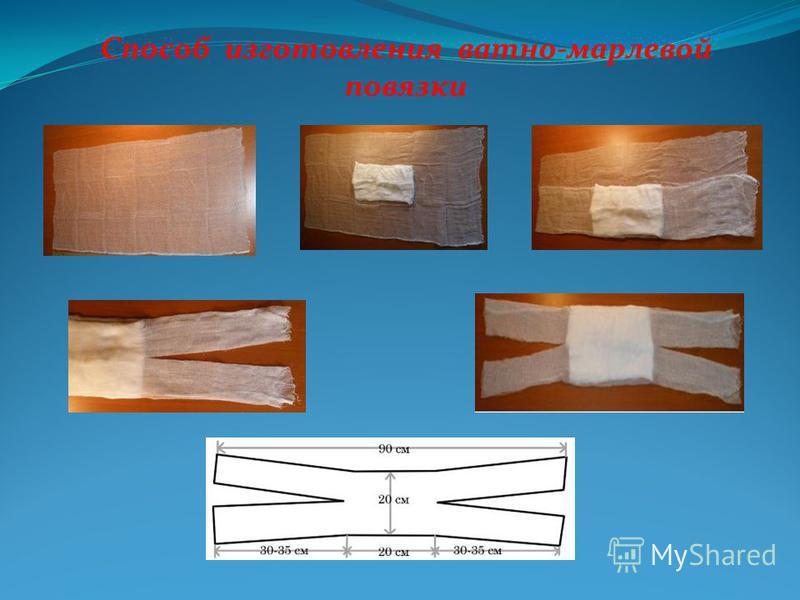 Способ изготовления ватно-марлевой повязки