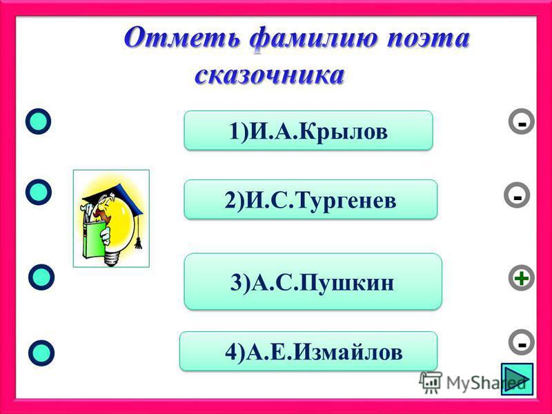 3)А.С.Пушкин 2)И.С.Тургенев 4)А.Е.Измайлов 1)И.А.Крылов - - + -