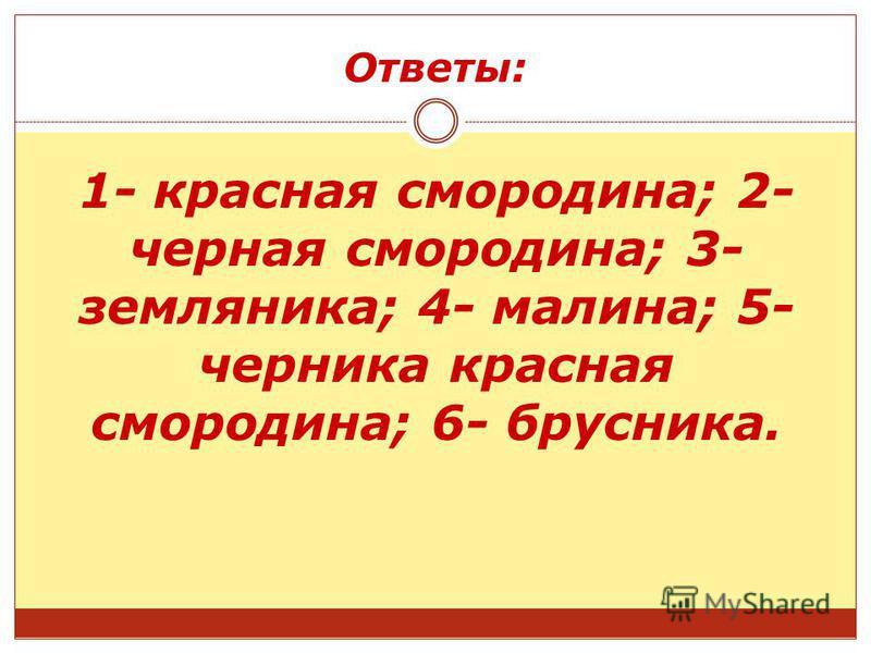 Ответы: 1- красная смородина; 2- черная смородина; 3- земляника; 4- малина; 5- черника красная смородина; 6- брусника.