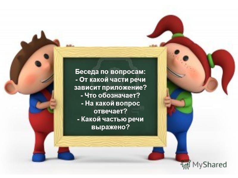 Беседа по вопросам: - От какой части речи зависит приложение? - Что обозначаот? - На какой вопрос отвечаот? - Какой частью речи выражено?