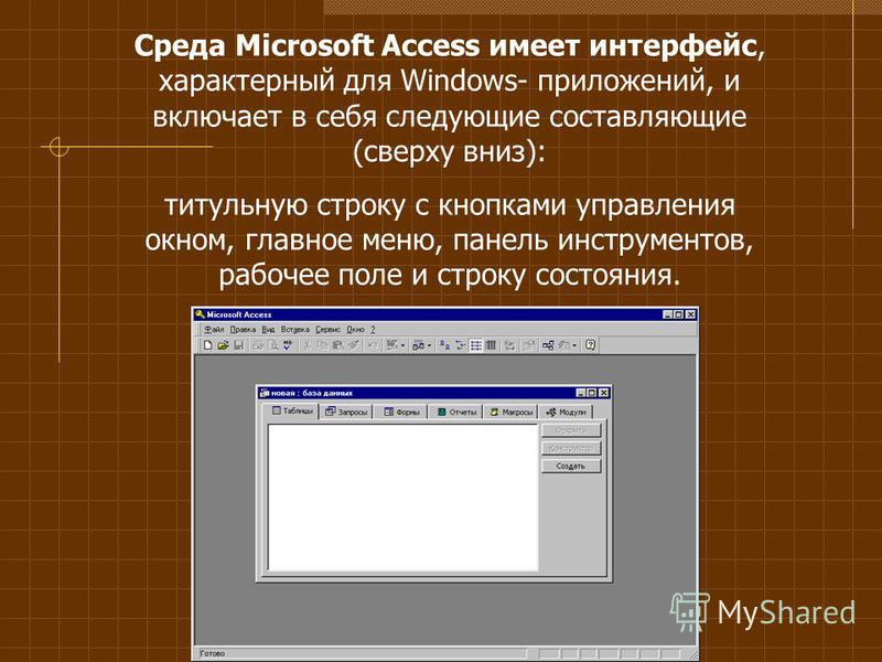 Среда Microsoft Access имеет интерфейс, характерный для Windows- приложений, и включает в себя следующие составляющие (сверху вниз): титульную строку с кнопками управления окном, главное меню, панель инструментов, рабочее поле и строку состояния.