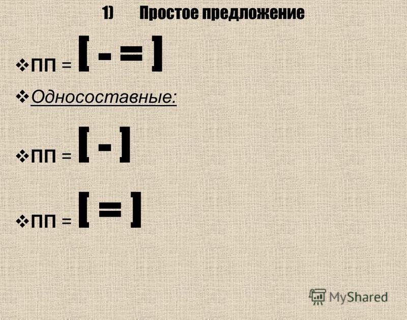 1)Простое предложение ПП = [ - = ] Односоставные: ПП = [ - ] ПП = [ = ]