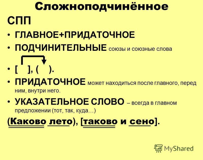 Сложноподчинённое СПП ГЛАВНОЕ+ПРИДАТОЧНОЕ ПОДЧИНИТЕЛЬНЫЕ союзы и союзные слова [ ], ( ). ПРИДАТОЧНОЕ может находиться после главного, перед ним, внутри него. УКАЗАТЕЛЬНОЕ СЛОВО – всегда в главном предложении (тот, так, куда…) ( Каково лето ), [ таков