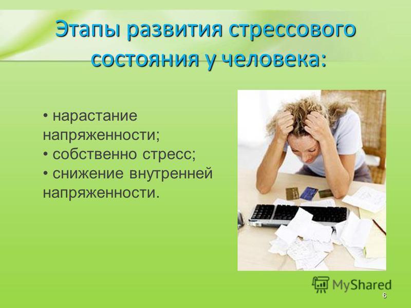 нарастание напряженности; собственно стресс; снижение внутренней напряженности. Этапы развития стрессового состояния у человека: состояния у человека: 6