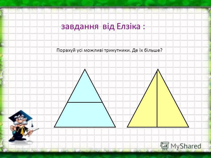завдання від Елзіка : Порахуй усі можливі трикутники. Де їх більше?