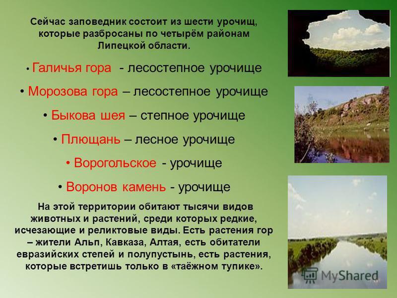 Сейчас заповедник состоит из шести урочищ, которые разбросаны по четырём районам Липецкой области. Галичья гора - лесостепное урочище Морозова гора – лесостепное урочище Быкова шея – степное урочище Плющань – лесное урочище Ворогольское - урочище Вор