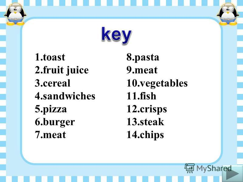 1.toast 2.fruit juice 3.cereal 4.sandwiches 5.pizza 6.burger 7.meat 8.pasta 9.meat 10.vegetables 11.fish 12.crisps 13.steak 14.chips