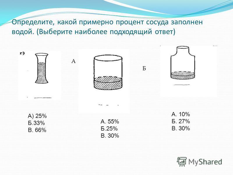 Определите, какой примерно процент сосуда заполнен водой. (Выберите наиболее подходящий ответ) А. 10% Б. 27% В. 30% А) 25% Б.33% В. 66% А. 55% Б.25% В. 30% А Б